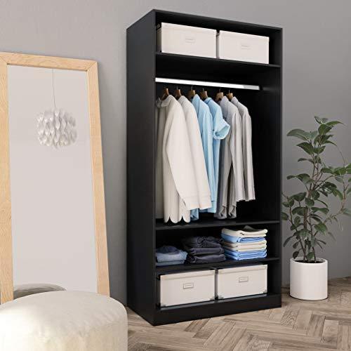 Offener Kleiderschrank zum Aufhängen und Aufbewahren von Kleidung, Organizer mit 3 Einlegeböden und 1 Kleiderstange, Schwarz, 100 x 50 x 200 cm