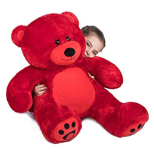 VERCART Teddybär Groß Riesen Kuscheltier Plüschbär Stofftier Rot 3 Feet