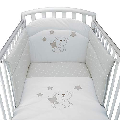 Babysanity-Juego de cuna con protector de cuna, funda de edredón, funda de almohada para cuna con barrotes de cuatro piezas desenfundables bordados o estampados varios modelos Little Star beige