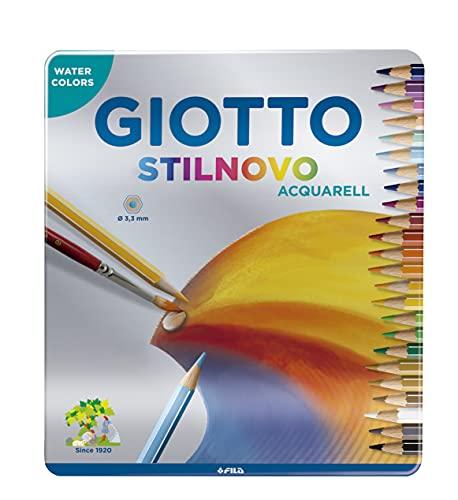Scopri offerta per Giotto 256300 - Stilnovo Acquarell Pastelli Acquarellabili Scatola Metallo da 24 Colori