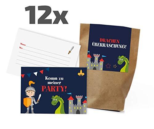 12x Ritter / Drachen Einladungskarten + Partytüten - Set zum Kindergeburtstag / Rittergeburtstag / Mitgebseltüten / Geschenktüten / Give-aways / Geburtstagseinladungen / Einladungen / Kinder / Set