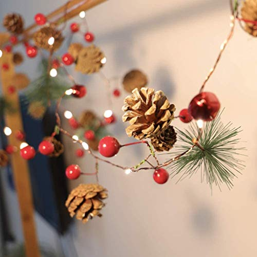 Christmas String Lights Christmas Bell Pine-Needle Pine-Cone Wreath Tree Garland