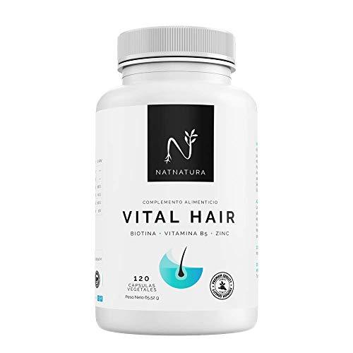 Biotina Vital Hair. Complemento alimenticio a base de vitaminas y minerales (Biotina, Zinc, vitamina B5 y Mijo) para fortalecer y frenar la caída del cabello y reforzar uñas y piel. 120 cápsulas.
