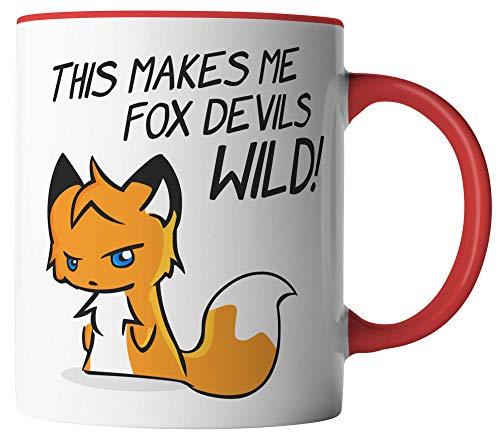 vanVerden Tasse - Denglisch - This makes me fox devils wild! - Das macht mich Fuchsteufelswild - Fuchs Tier Wald - beidseitig Bedruckt - Geschenk Idee Kaffeetassen, Tassenfarbe:Weiß/Rot