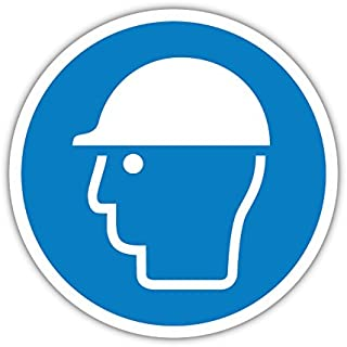 Aufkleber Gebotszeichen Kopfschutz benutzen - Schutzhelm Tragen 20cm 1