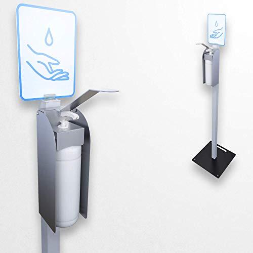 KLEMP Ellenbogen Desinfektionssäule mit Alu Ständer, mobiler Desinfektionsmittelspender für Hände, 1000ml, stehend 120cm