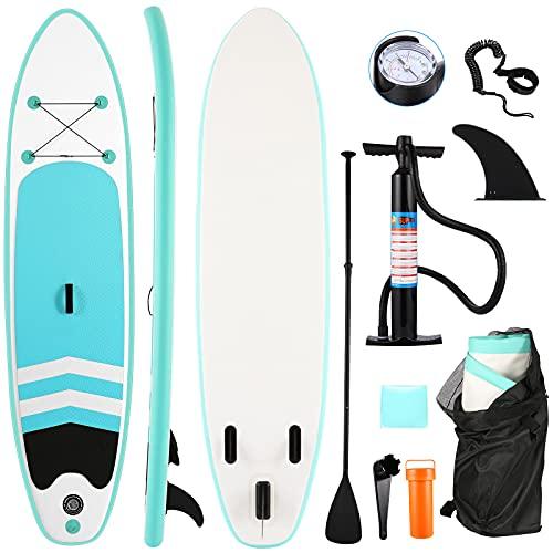 Tooluck Tabla Paddle Surf Hinchable (10cm de Grosor), Accesorios Sup Paddle Remo Ajustable, Bomba de Mano, Bolsa de Almacenamiento, Aleta Inferior para remar, Tubo de reparación,Tamaño: 305x72x10cm