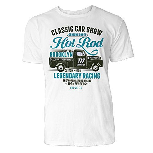 Heren T-shirt Classic Car Show (wit) Vrijetijds/sport/club T-shirt Crew Neck NOOS Original