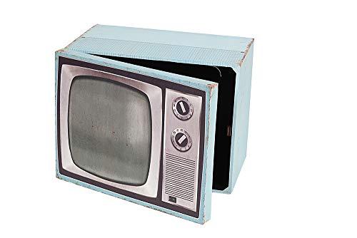 DISRAELI MOBILETTO PENSILE a Forma di Televisione in Legno, Azzurro 44x30xH34 cm