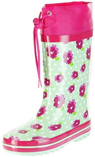 ConWay Gummistiefel grün Regenstiefel Kinder Stiefel Mädchen Schuhe Blümchen, Farbe:grün, Größe:24 EU