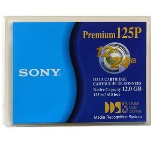 10 pack of Sony Premium 125P DGD125P 4mm 12GB Native / 24GB Compressed Data Storage Cartridge Tape for DDS3 - 125m / 410ft