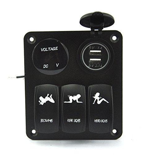 ASUMAN Panneau de commutation pour voiture ou bateau 3 interrupteurs avec 1 chargeur et 2 ports USB et moniteur de tension LED bleue 5 broches Interrupteur à bascule marche/arrêt étanche