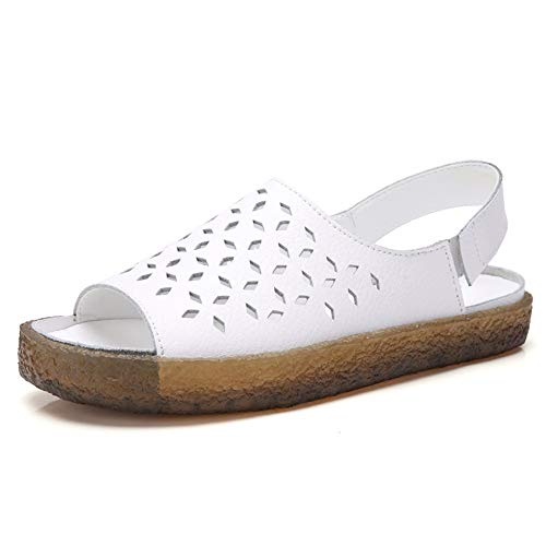 Ladies Flat Leather Casual Hollow Sandals Summer Ladies Sandals