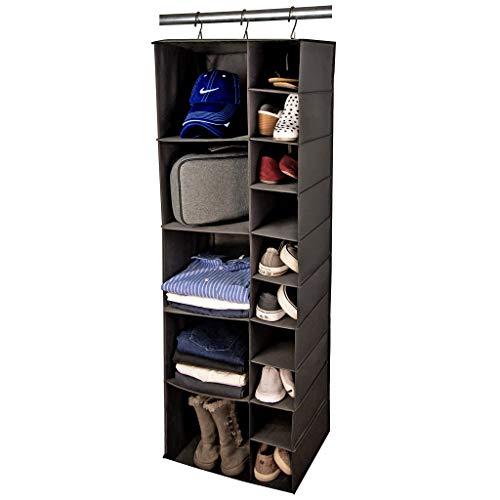 Hanging Closet Organizer Storage Shelves - 15 Shelf Closet Organization System - 5 Clothes Drawers...