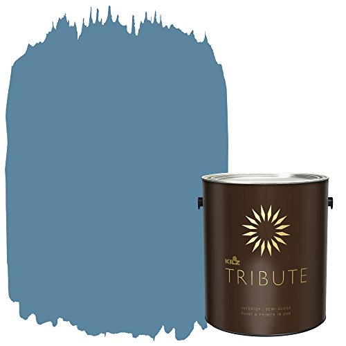 KILZ TRIBUTE Interior Semi-Gloss Paint and Primer in One, 1 Gallon, Dusty Turquoise (TB-58)