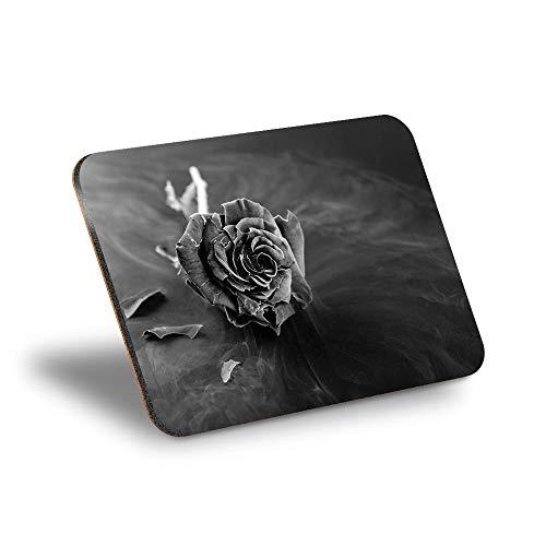 Destination Vinyl ltd Mantel individual de corcho 290 x 215 – BW – Frozen Rose Flower Heart lugar de trabajo/mesa/mantel limpiable/impermeable #42899