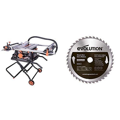 Evolution Power Tools 057-0003 Rage 5-S Mehrzweck-Tischkreissäge, 255 mm (230 V), 1500 W & Edelstahl Sägeblatt, RAGEBLADE255WOOD, Holz, 255 mm
