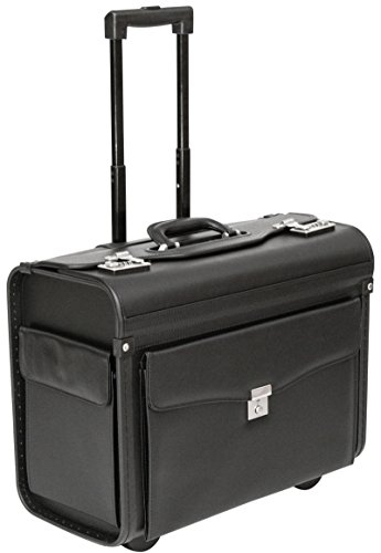 Tassia Executive Leather Look Pilot Case - Front Pocket Lock Protection - Wheeled Pilotcase