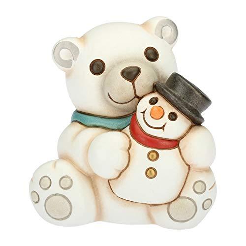 THUN ® - Ours polaires avec bonhomme de neige - Céramique - H 9,4 cm - Ligne I Classiques