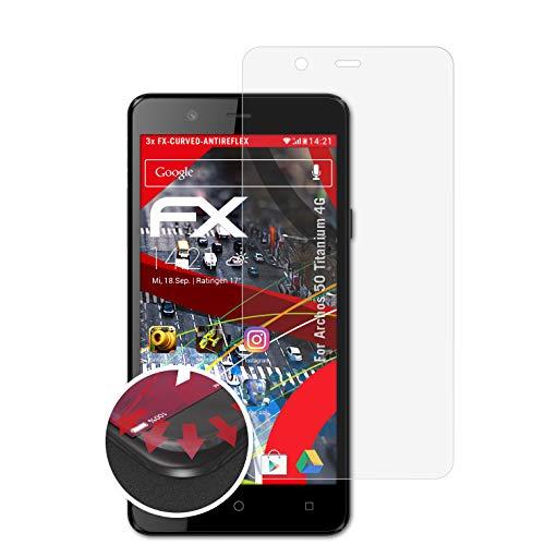 atFolix Schutzfolie kompatibel mit Archos 50 Titanium 4G Folie, entspiegelnde & Flexible FX Bildschirmschutzfolie (3X)