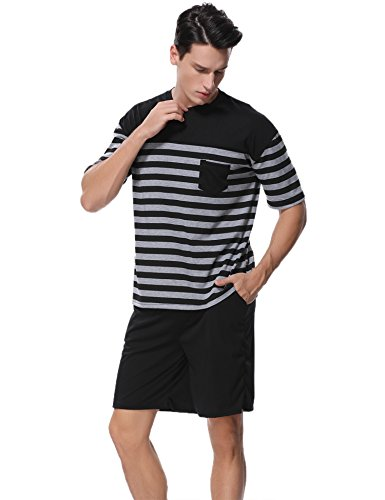 Aiboria Conjunto de Pijama para Hombre de Manga Corta Ropa de Dormir de Verano de algodón Suave Conjunto de salón de Rayas y Pantalones Cortos