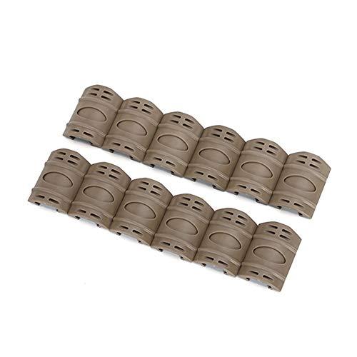 NO LOGO XBF-Scope, 12 pcs Lot Tactique Picatinny Quad Rail en Caoutchouc tauds Accessoires Tactical Caoutchouc Rail tauds Accessoires de Chasse (Couleur : Brown)