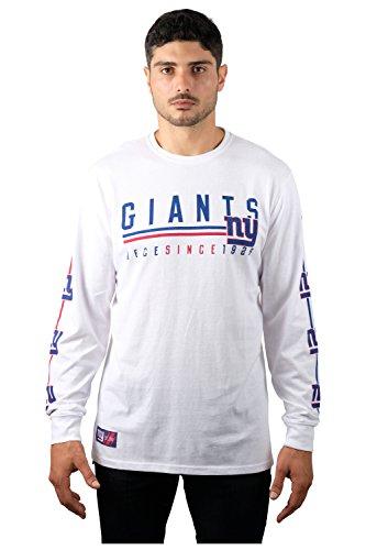 Ultra Game NFL New York Giants Mens Active Basic Long Sleeve Tee Shirt, White, X-Large
