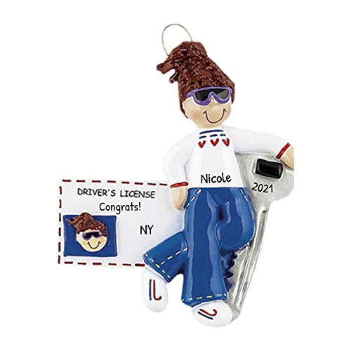 Personalized New Driver's License Girl Christmas Tree Ornament 2019 - Brown Hair Female Sunglass ID Car Key Cool Grand-Daughter Friend Teen Holiday Motor - Free Customization (Brunette)