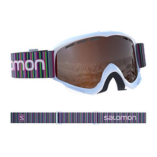 Salomon Juke Skibrille, für Kinder (6-12 Jahre), geeignet für Brillenträger, sonniges Wetter, orangefarbene Scheibe (auswechselbar), Airflow System, weiß, L39136700