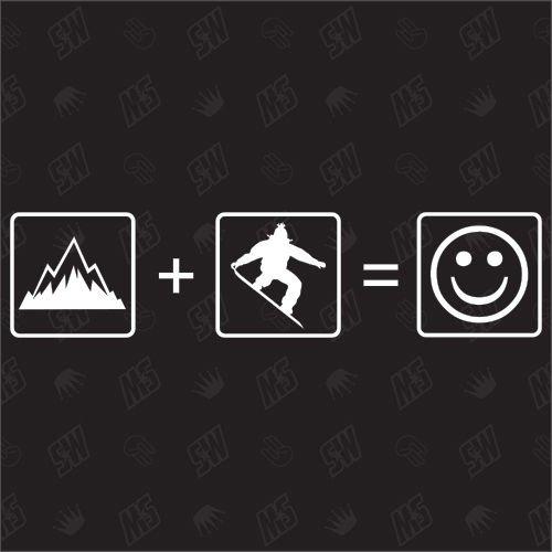 Berge + Snowboard = Smile - Sticker