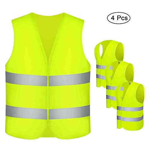 otutun Warnwesten , 4 Stück Sicherheitsweste Auto Pannenweste Neon Gelb mit 360 Grad Reflektierende Streifen und Klettverschluss Waschbar Unfallweste für Erwachsene - Standardgröße