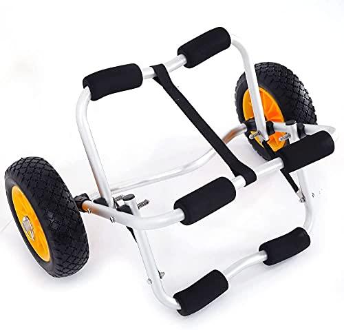 Carretilla plegable para kayak, canoa para barco, canoa, carro, transporte para remolque, con ruedas planas mejoradas, una correa de 3,6 m, marco de aluminio resistente