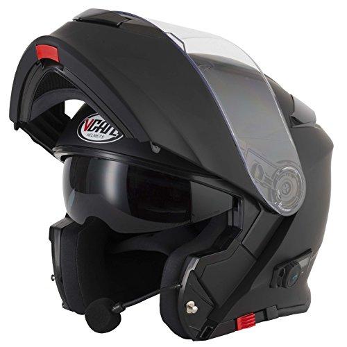 Casco para motocicleta V271 Blinc con Bluetooth VCAN modular, con visor, en varios colores, negro mate, Medium