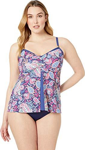 24th & Ocean Women's Plus Size Flyaway Front Tankini Swimsuit Top, Purple//Paisley Lane, 22W