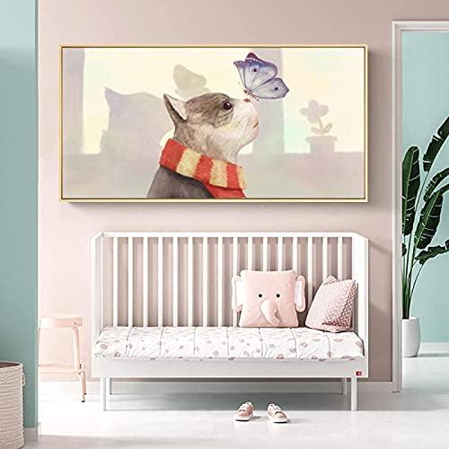 Pintura de la pared linda chica gato pez cartel cuento de hadas lienzo pintura impresión habitación de los niños arte de la pared imagen decoración de la habitación de los niños 60x120cm sin marco