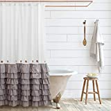 Shaina White and Gray Shabby Chic Shower Curtain 72 x 72 with Farmhouse Ruffles and French Country Style Buttons - Modern Farmhouse Shower Curtain Fabric (Gray)