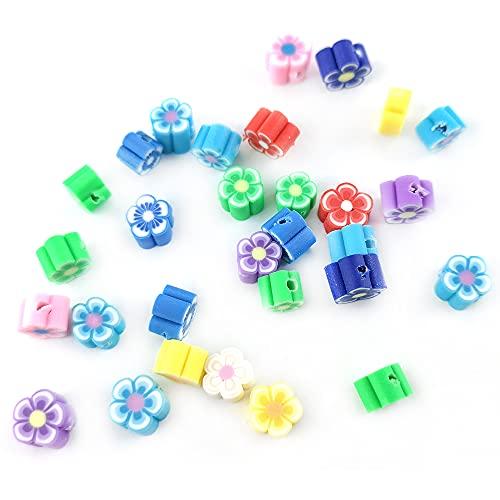 Charming Beads Argilla Polimerica Perline Misto-Colore Fiore 4 x 6mm Pacco di 30