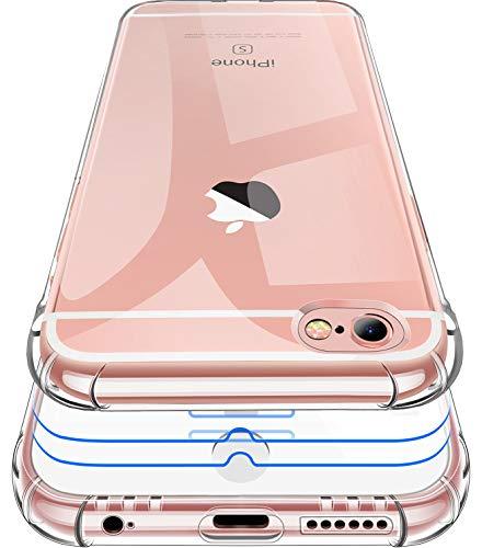 Garegce Coque iPhone 6, Coque iPhone 6s Transparente + 2 Pack Verre trempé Protection écran, Housse Etui Silicone TPU Souple, Protection Antichoc Bumper Cover iPhone 6/6s- 4.7 Pouces-Transparent