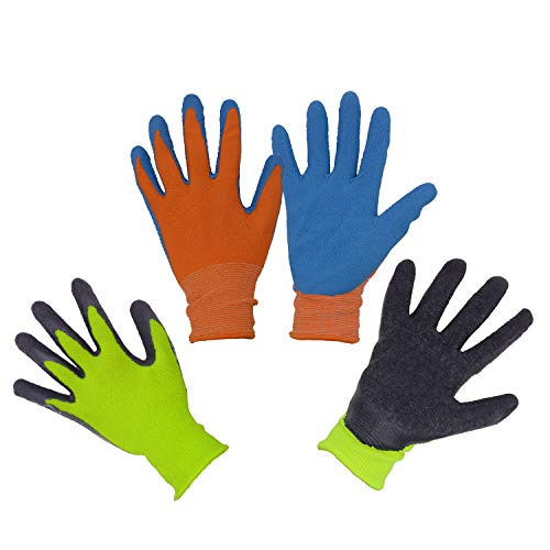 HANDLANDY Kids Gardening Gripper Gloves for Age 3-13, 2 Pairs Foam Rubber Coated Garden Gloves for Girls Boys (Size 2 (Age 3-4))