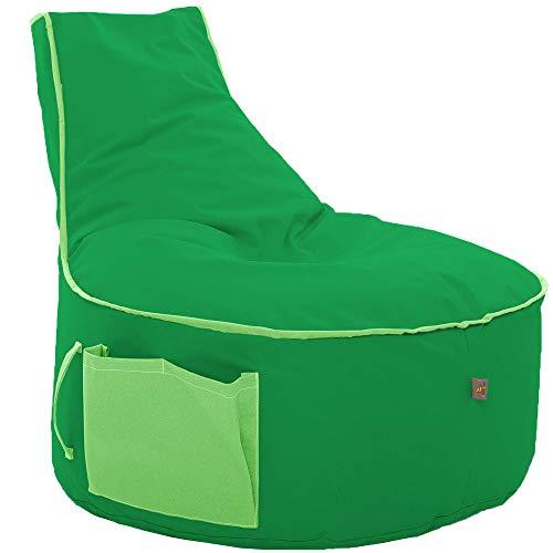 GlueckBean Hochwertiger Sitzsack mit Seitentaschen - Indoor & Outdoor - Gaming Sessel Sitzkissen mit Styroporkugeln Füllung - auch ideal für Kinderzimmer - Apfelgrün mit Kiwigruen