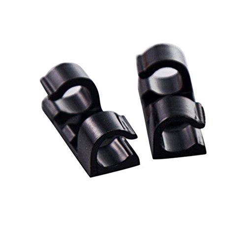 Alecony 20 Stück Selbstklebende Kabelclips, Kabelhalter mit Klebstoff Gesicherte Unterlage, Kabelklemme Set für Schreibtisch, Netzkabel, USB Ladekabel, Ladegeräte und Audiokabel Kabelklemme (Schwarz)