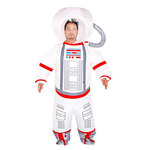 1yess Partido Inflable Traje Adulto de la mueca Inflable de Dibujos Animados Divertido del Astronauta Ropa piloto Espacial Traje Ropa de Terror (con Ventilador)