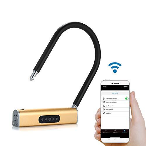 Galapara Beugelslot, BT Smart U-slot zonder sleutel U/type-slot App/keyboard, wachtwoord, diefstalbeveiliging voor fietsen, motorfietsen, deuren, glazen deur, opslagdeur, zwart