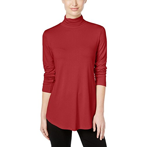 JM Collection Turtleneck Top (New Red Amore, S)