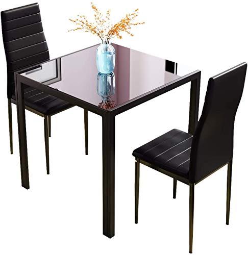 3 juegos de mesas 2 Conjuntos de sillas, mesa de mesa cuadrada de vidrio Mostrar mesa de cocina pequeña,Black