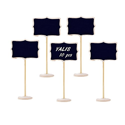 Yalis Set Of 10 Mini Chalkboard with Stand for Message Board labels.Great For Nameplates At a Dinner Party,Christmas Table, Weddings, kids Crafts, Place Cards, Party Favors (Lace Shaped A)
