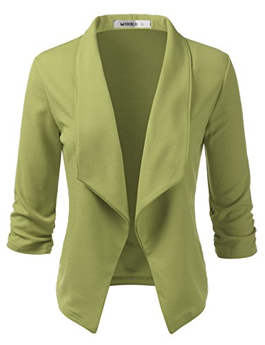Doublju Womens Casual Work 3/4 Sleeve Open Front Blazer Jacket with Plus Size SAGE Small