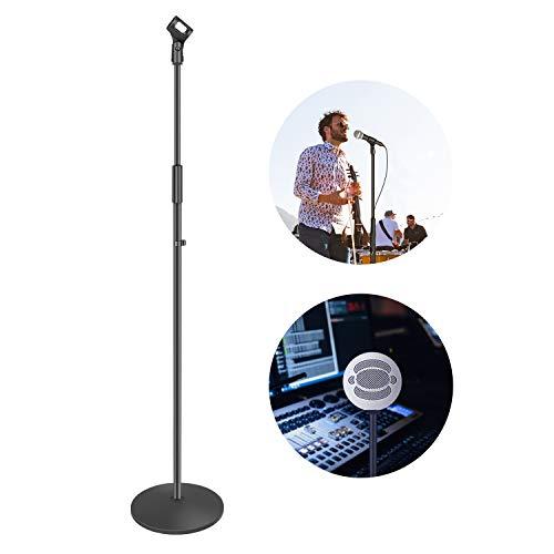 Neewer Compacta Base Micrófono Soporte de Suelo con Soporte de Micrófono Altura Ajustable de 100 a 179 centímetros Soporte Duradero de Hierro con Base Redonda Sólida Desmontable (Negro)