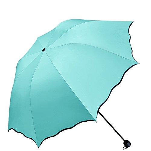 Maibar ombrelli bambini pieghevole bambina ombrelli pieghevoli verde parasole umbrella leggero fiore 8 ossa prova uv ombrellone (menta verde)