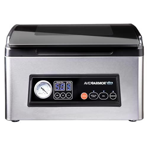 Avid Armor Chamber Vacuum Sealer Model USV32 Ultra Series, Perfect for Liquid-Rich Foods including Fresh Meats, Marinades, Soups, Sauces and More. Save Money by Vacuum Packaging the Professional Way